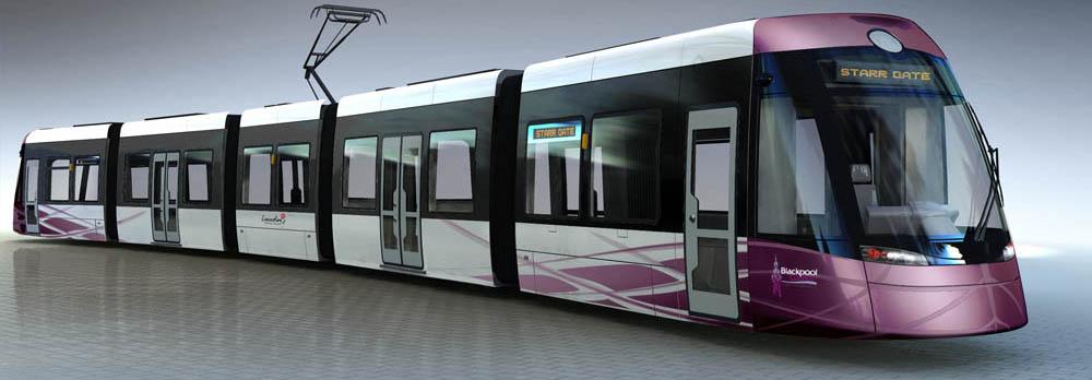 Noch computeranimiert: So werden die Straßenbahnzüge in Blackpool aussehen, die Bombardier Transportation ab 2011 ausliefert