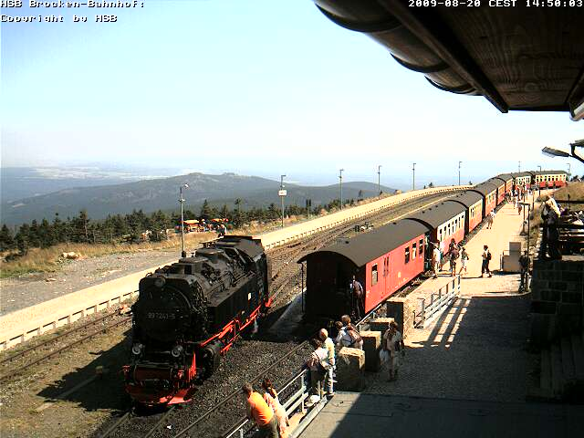 Die HSB-Brockenkamera liefert ein neues Bild, sobald sich ein Zug bewegt  (Copyright: HSB)