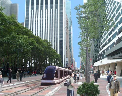 Eine Straßenbahn in New York – die Vision einer Initiative (Bild: Vision42)