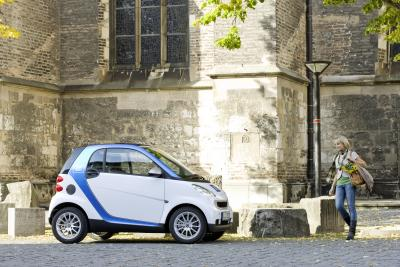 Mit dem Leih-Smart durch Ulm (Foto: Daimler AG)