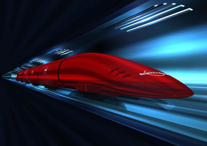 Blind auf Magnetkufen durch den luftleeren Tunnel soll die Swissmetro fahren  (Bild: Swissmetro)