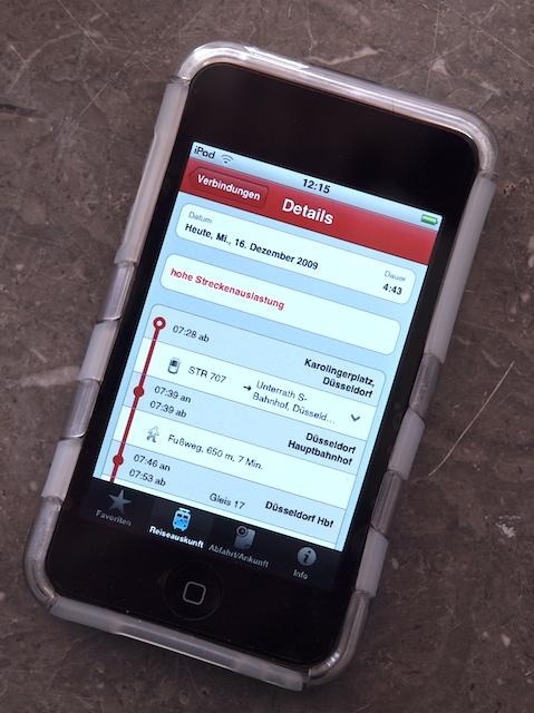 Die DB-App läuft auch auf dem iPod Touch